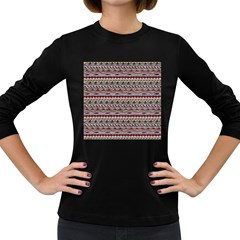 Aztec Pattern Patterns Women s Long Sleeve Dark T Shirts by BangZart