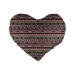 Aztec Pattern Patterns Standard 16  Premium Flano Heart Shape Cushions by BangZart