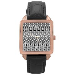 Aztec Design  Pattern Rose Gold Leather Watch  by BangZart