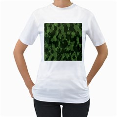Camouflage Green Army Texture Women s T Shirt (white) (two Sided)