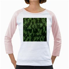 Camouflage Green Army Texture Girly Raglans