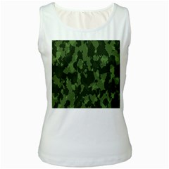 Camouflage Green Army Texture Women s White Tank Top by BangZart