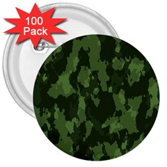 Camouflage Green Army Texture 3  Buttons (100 Pack)  by BangZart