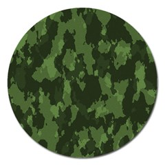 Camouflage Green Army Texture Magnet 5  (round) by BangZart