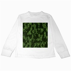 Camouflage Green Army Texture Kids Long Sleeve T Shirts by BangZart