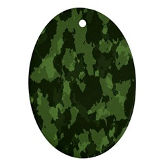 Camouflage Green Army Texture Oval Ornament (two Sides) by BangZart