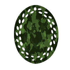 Camouflage Green Army Texture Oval Filigree Ornament (two Sides) by BangZart