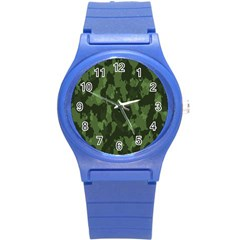 Camouflage Green Army Texture Round Plastic Sport Watch (s) by BangZart
