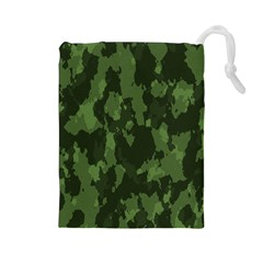 Camouflage Green Army Texture Drawstring Pouches (large)  by BangZart