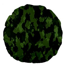 Camouflage Green Army Texture Large 18  Premium Flano Round Cushions by BangZart
