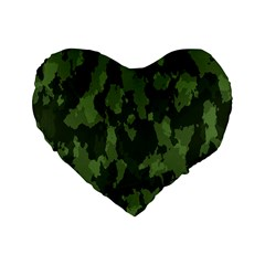 Camouflage Green Army Texture Standard 16  Premium Flano Heart Shape Cushions by BangZart