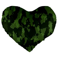 Camouflage Green Army Texture Large 19  Premium Flano Heart Shape Cushions by BangZart
