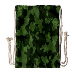 Camouflage Green Army Texture Drawstring Bag (large)