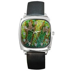 Chameleon Skin Texture Square Metal Watch