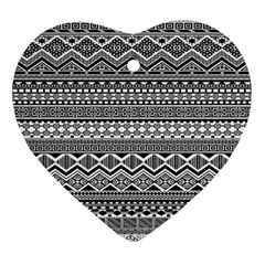 Aztec Pattern Design Ornament (heart) by BangZart