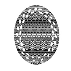 Aztec Pattern Design Oval Filigree Ornament (two Sides) by BangZart