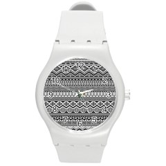 Aztec Pattern Design Round Plastic Sport Watch (m) by BangZart