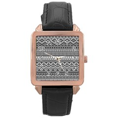 Aztec Pattern Design Rose Gold Leather Watch  by BangZart