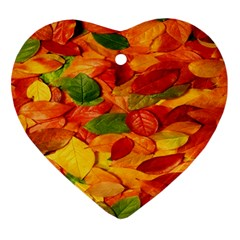 Leaves Texture Ornament (heart) by BangZart