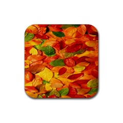 Leaves Texture Rubber Square Coaster (4 Pack)  by BangZart