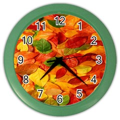 Leaves Texture Color Wall Clocks by BangZart