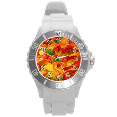 Leaves Texture Round Plastic Sport Watch (l) by BangZart