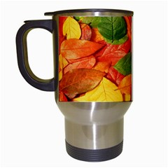 Leaves Texture Travel Mugs (white)