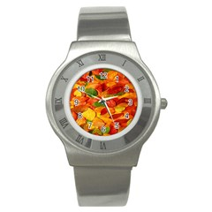 Leaves Texture Stainless Steel Watch