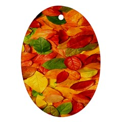 Leaves Texture Oval Ornament (two Sides)