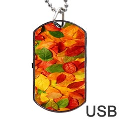 Leaves Texture Dog Tag Usb Flash (one Side) by BangZart