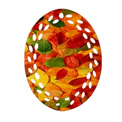 Leaves Texture Oval Filigree Ornament (two Sides) by BangZart