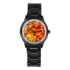 Leaves Texture Stainless Steel Round Watch by BangZart