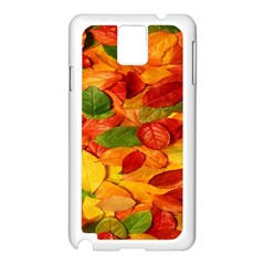 Leaves Texture Samsung Galaxy Note 3 N9005 Case (white) by BangZart