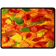 Leaves Texture Double Sided Fleece Blanket (large)  by BangZart