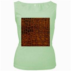 Crocodile Skin Texture Women s Green Tank Top