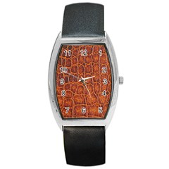 Crocodile Skin Texture Barrel Style Metal Watch