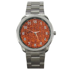 Crocodile Skin Texture Sport Metal Watch