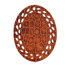 Crocodile Skin Texture Oval Filigree Ornament (two Sides) by BangZart
