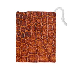 Crocodile Skin Texture Drawstring Pouches (large)