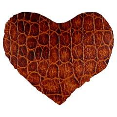 Crocodile Skin Texture Large 19  Premium Flano Heart Shape Cushions by BangZart