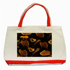 Gold Snake Skin Classic Tote Bag (red) by BangZart