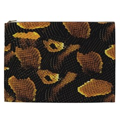 Gold Snake Skin Cosmetic Bag (xxl)  by BangZart