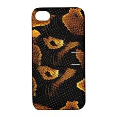 Gold Snake Skin Apple Iphone 4/4s Hardshell Case With Stand
