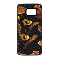 Gold Snake Skin Samsung Galaxy S7 Edge Black Seamless Case by BangZart