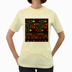 Bohemian Patterns Tribal Women s Yellow T Shirt