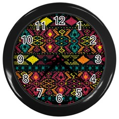 Bohemian Patterns Tribal Wall Clocks (black)