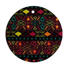 Bohemian Patterns Tribal Round Ornament (two Sides)