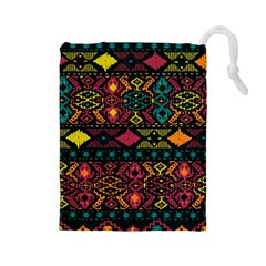 Bohemian Patterns Tribal Drawstring Pouches (large)