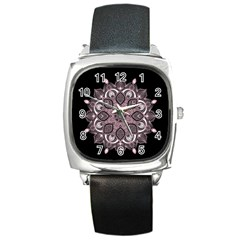 Ornate Mandala Square Metal Watch by Valentinaart