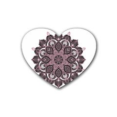 Ornate Mandala Rubber Coaster (heart)  by Valentinaart